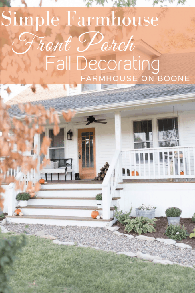 simple farmhouse front porch fall decorating