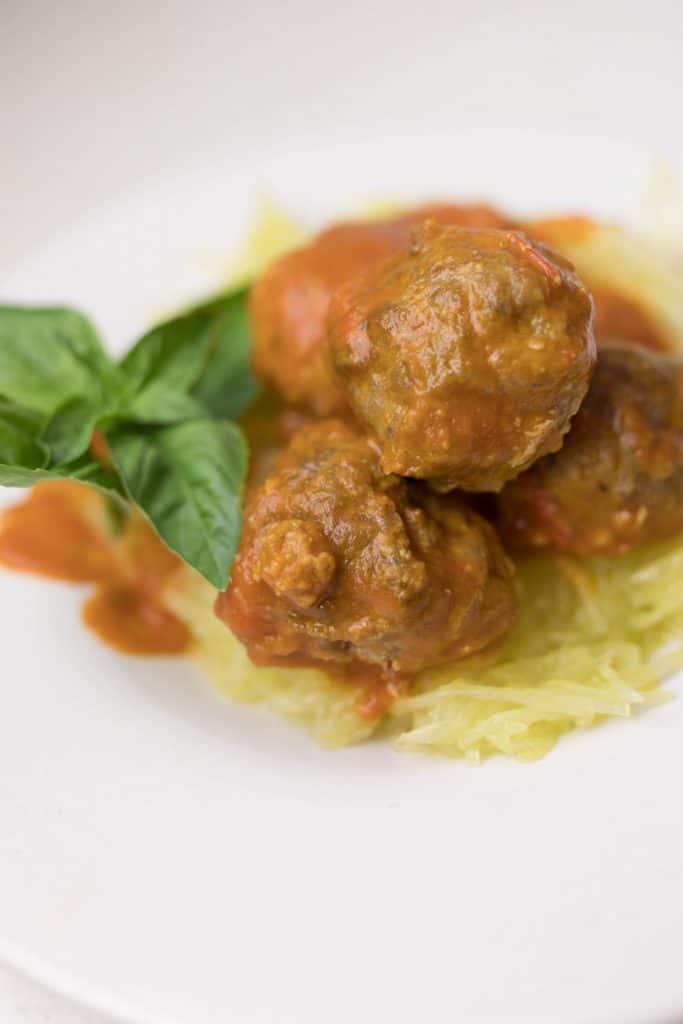pumpkin chipotle spaghetti squash with homemade meatballs