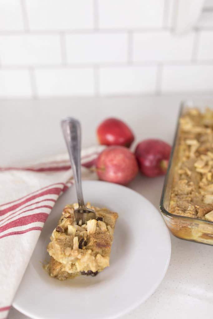 sourdough apple cinnamon raisin french toast casserole