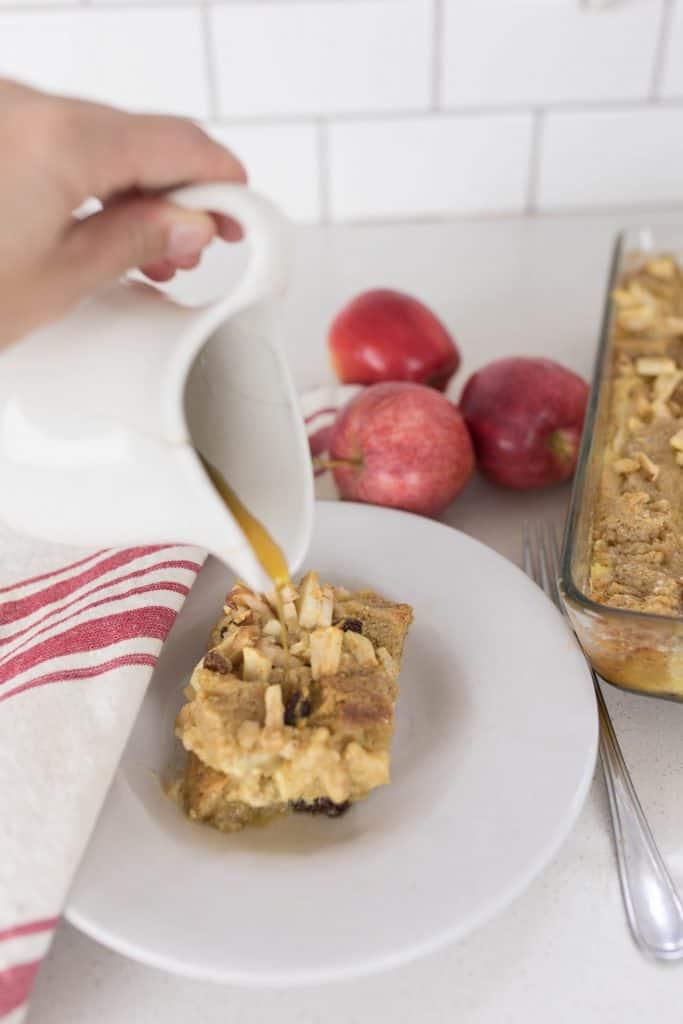 apple cinnamon maple raisin french toast casserole sourdough bread