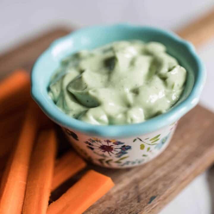 Yogurt Avocado aioli recipe healthy vegetable dip