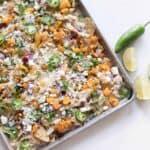 Pumpkin sheet pan nachos easy fall appetizer