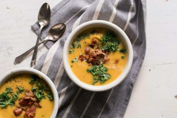 Roasted Pumpkin Soup with Acorn Squash