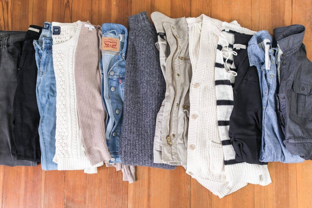 fall winter capsule wardrobe black white denim tan gray white stripes