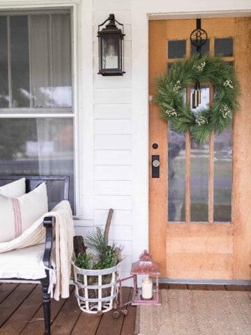 christmas farmhouse front porch decor