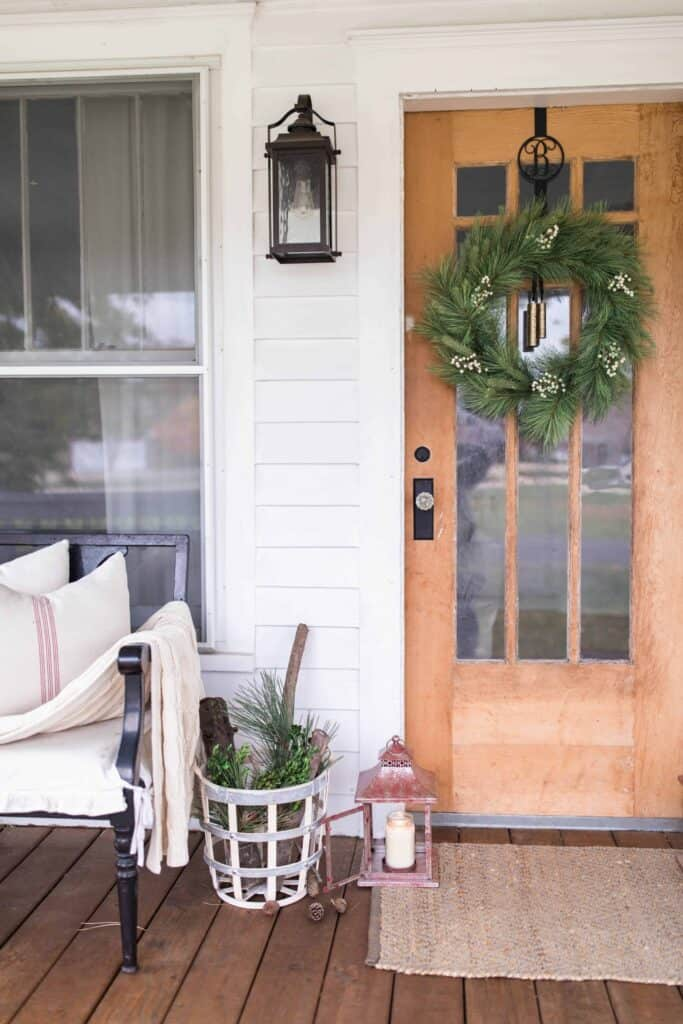 christmas farmhouse front porch decor