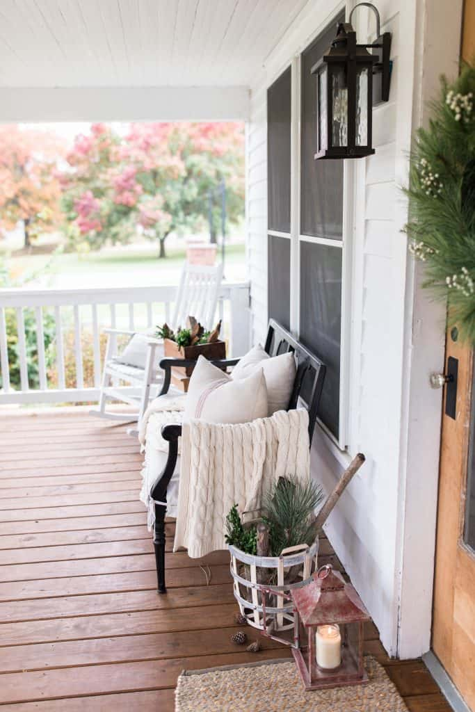 christmas farmhouse front porch decorating
