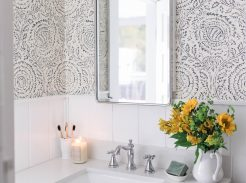 farmhouse bathroom shiplap wallpaper wood vanity