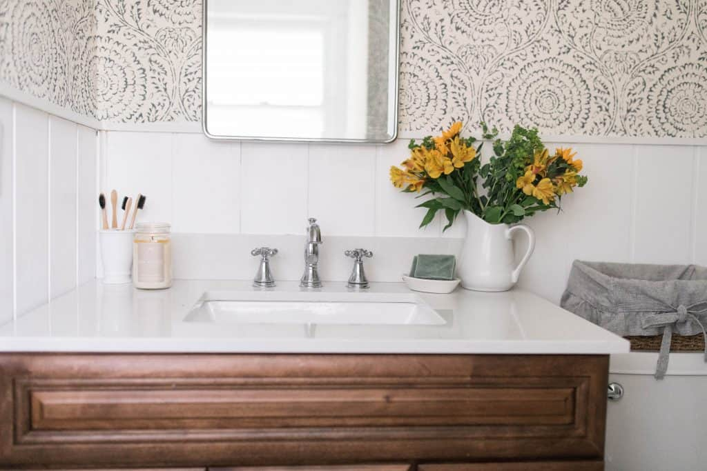 Farmhouse bathroom makeover delta faucet