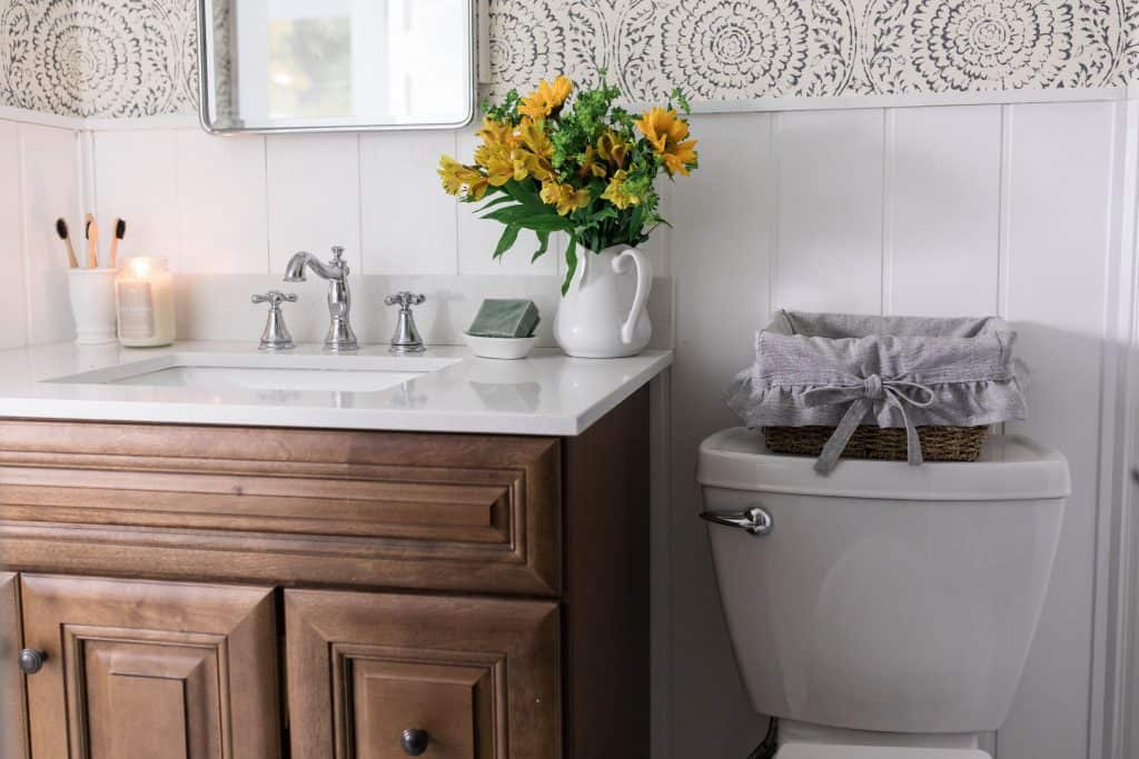 farmhouse bathroom makeover wood vanity medicine cabinet wallpaper shiplap
