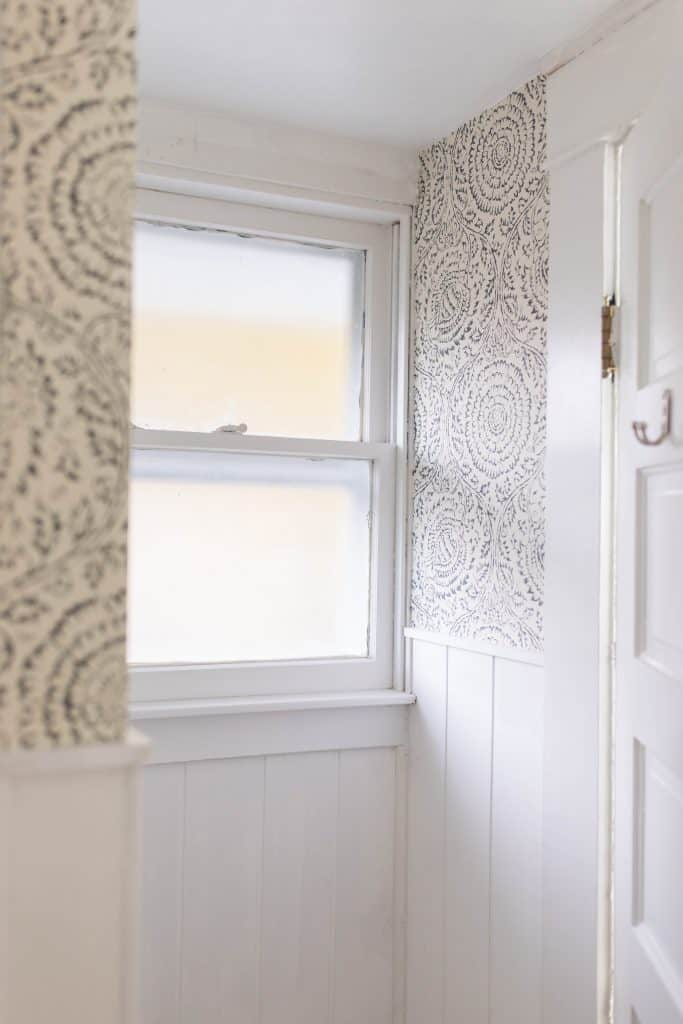 farmhouse bathroom shiplap and wallpaper farmhouse window trim