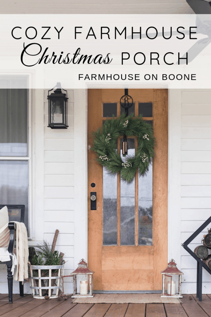 Simple cozy farmhouse front porch