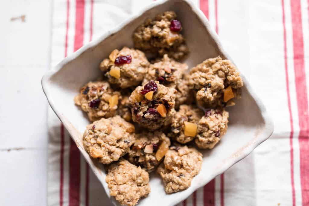 Rustic garnola cookies oatmeal cookies with cranberries and apricots and toasted coconut