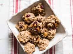 Rustic granola cookies oatmeal cookies with cranberries and apricots and toasted coconut