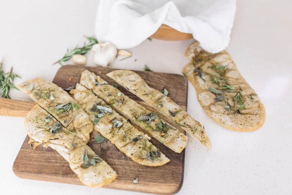 easy sourdough flatbread no wait sourdough recipe garlic and herb sourdough flatbread