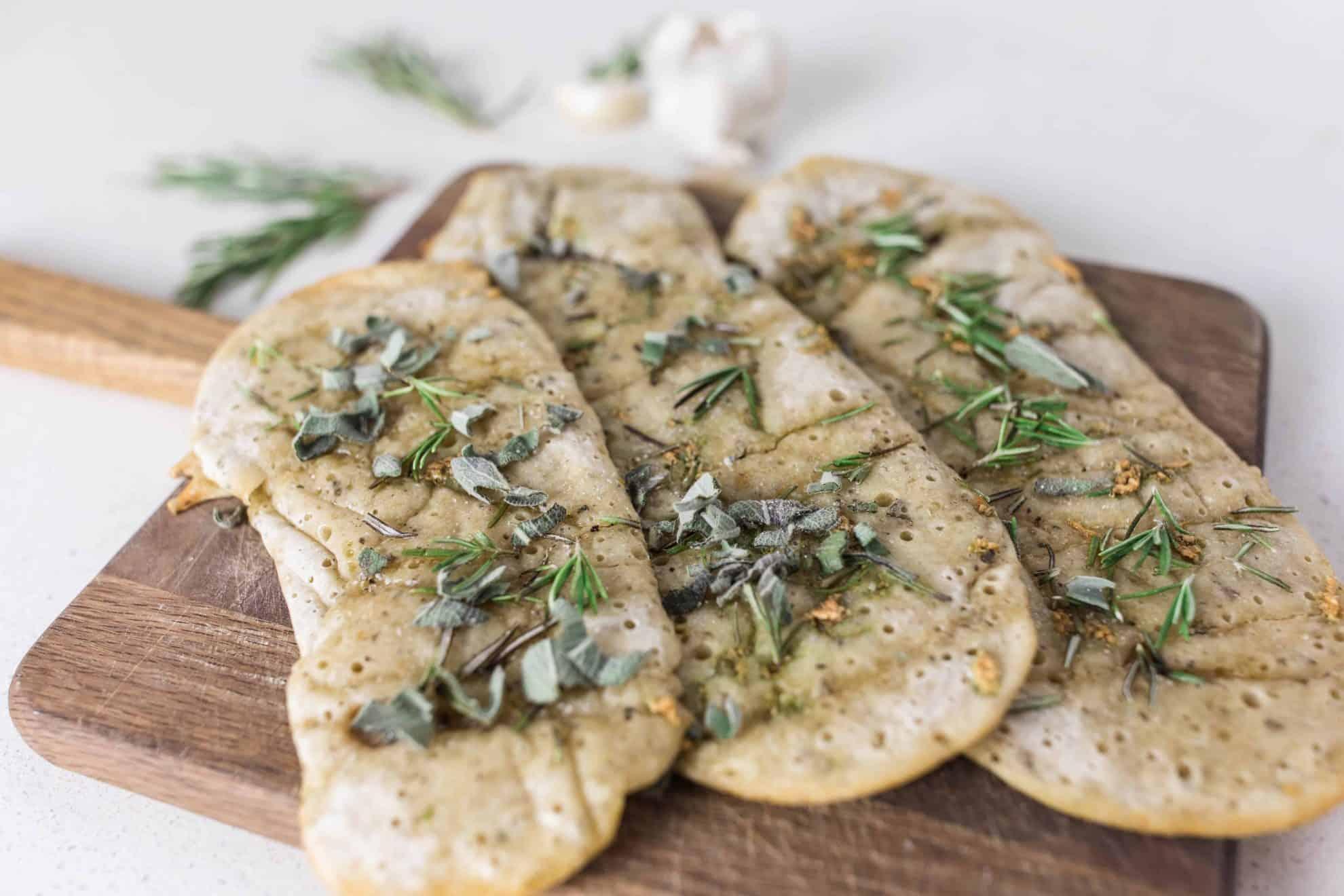 Easy Sourdough Flatbread with garlic and herbs no wait sourdough recipe