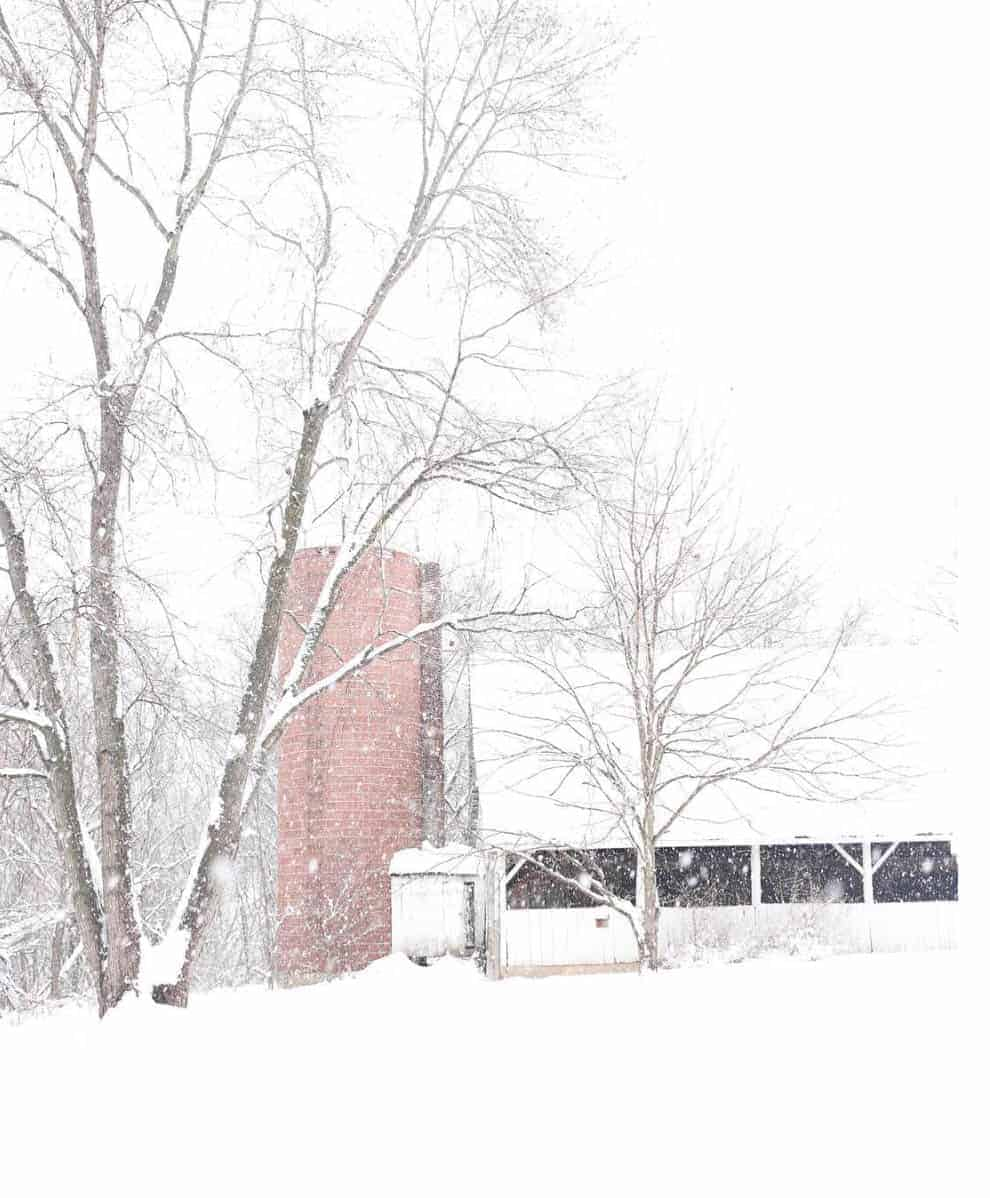 old white barn in the snow farmhouse on boone new homestead