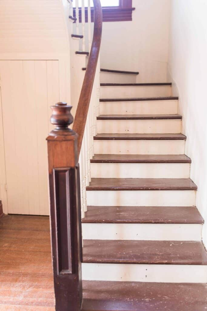 victorian farmhouse staircase wood stair treads curved staircase