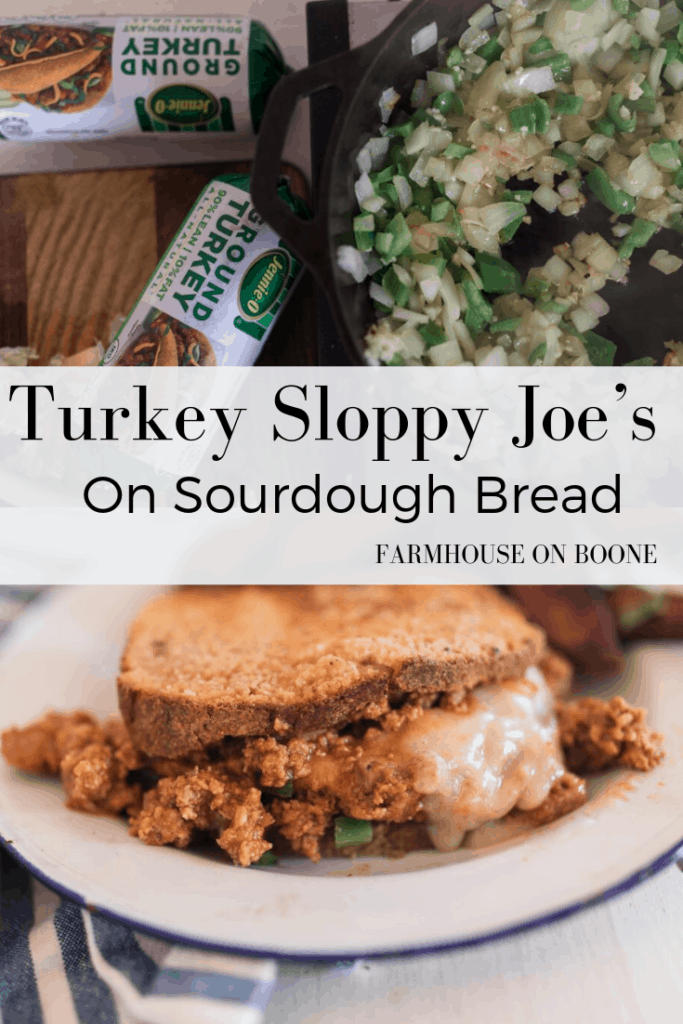 Turkey Sloppy Joe's on Sourdough Bread Pinable graphic