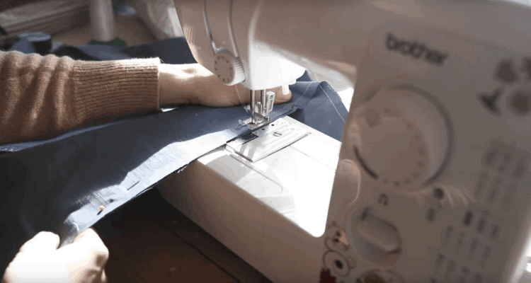 sewing the seam on pillow cover