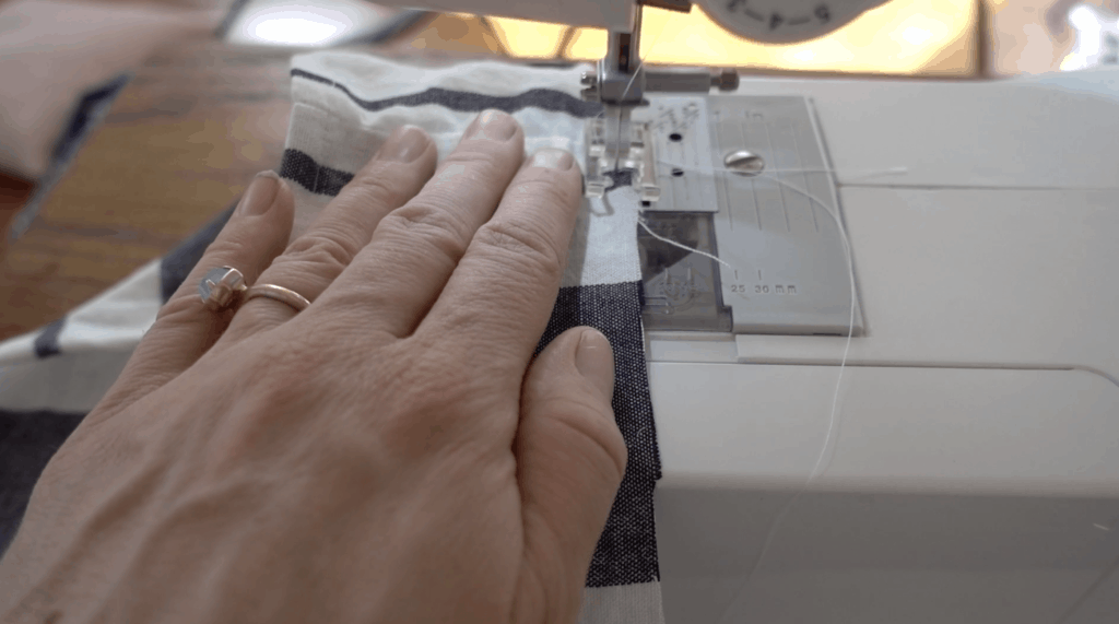 sewing the gathering stitch