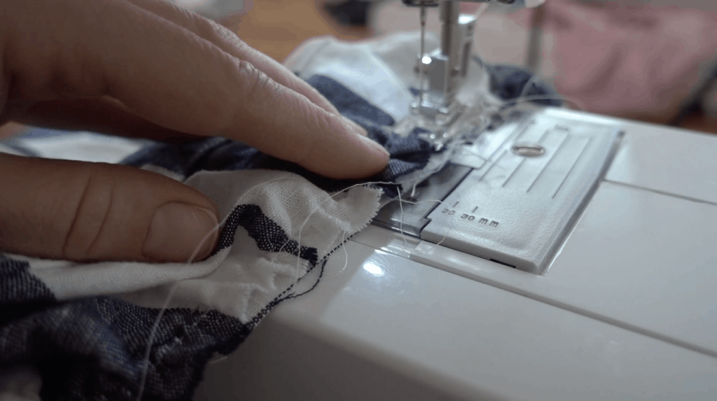 sewing the ruffle and project together