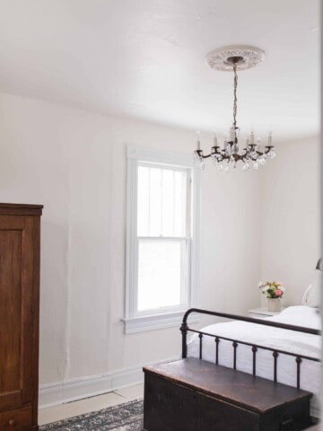 our new chandelier in our farmhouse master bedroom