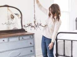Antique chandelier for our new farmhouse crystal and brass antique chandelier