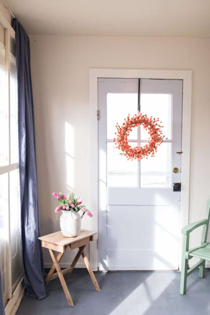farmhouse mudroom makeover with bright colors dutch boy homestead color palette