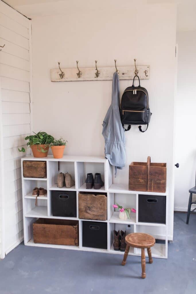 diy farmhouse style mudroom makeover