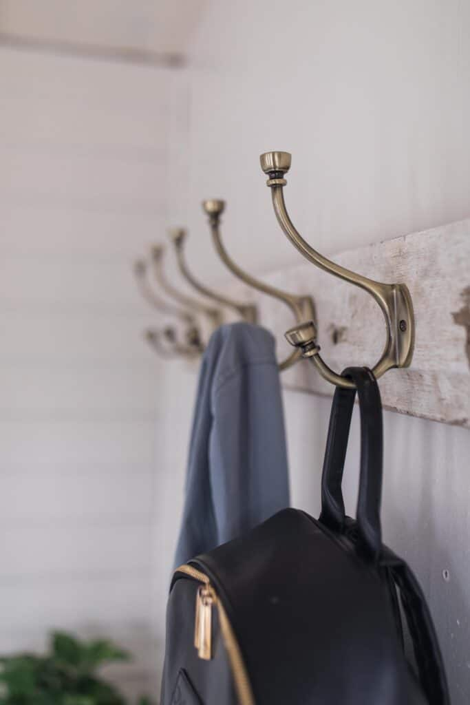 diy coat rack with antique brass hooks and barn wood