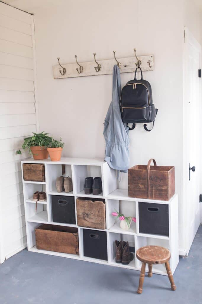 shoe rack and coat hook farmhouse style