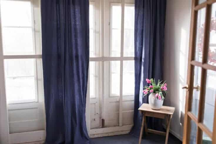 How to Dye and Sew Drop Cloth Curtains
