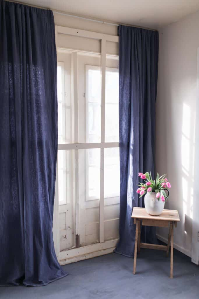 navy blue dyed drop cloth curtains farmhouse mudroom