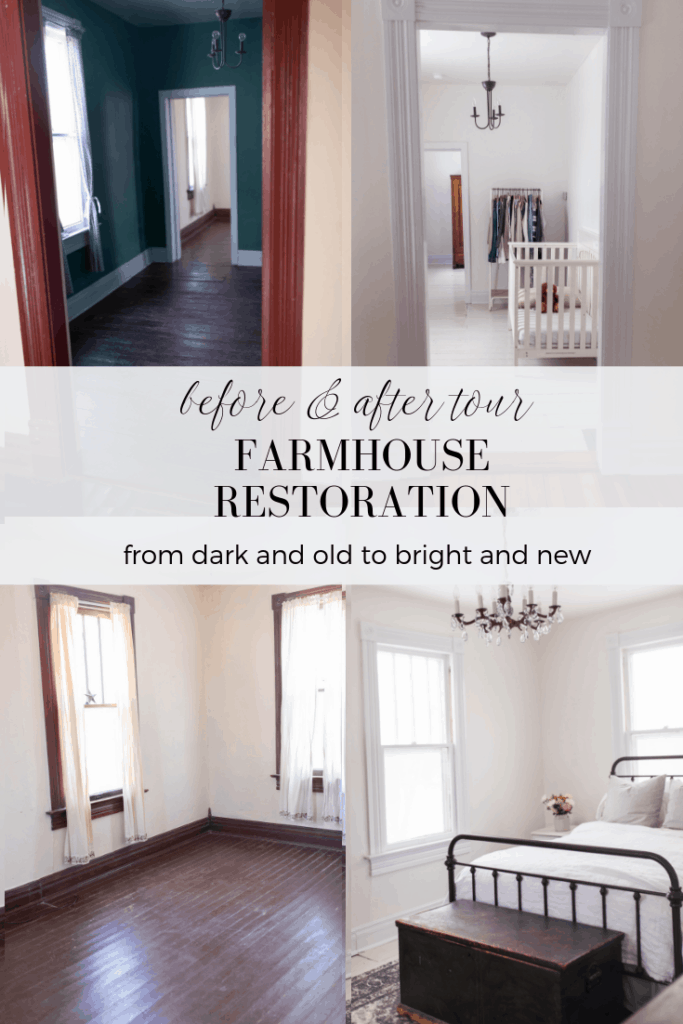 Farmhouse restoration before and after tour #farmhousedecor #farmhousestyle #beforeandafter #roommakeover
