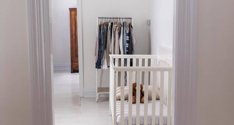 painted white hardwood floors in farmhouse nursery