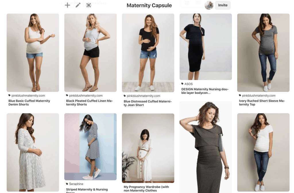 Pinterest pictures of maternity capsule wardrobe