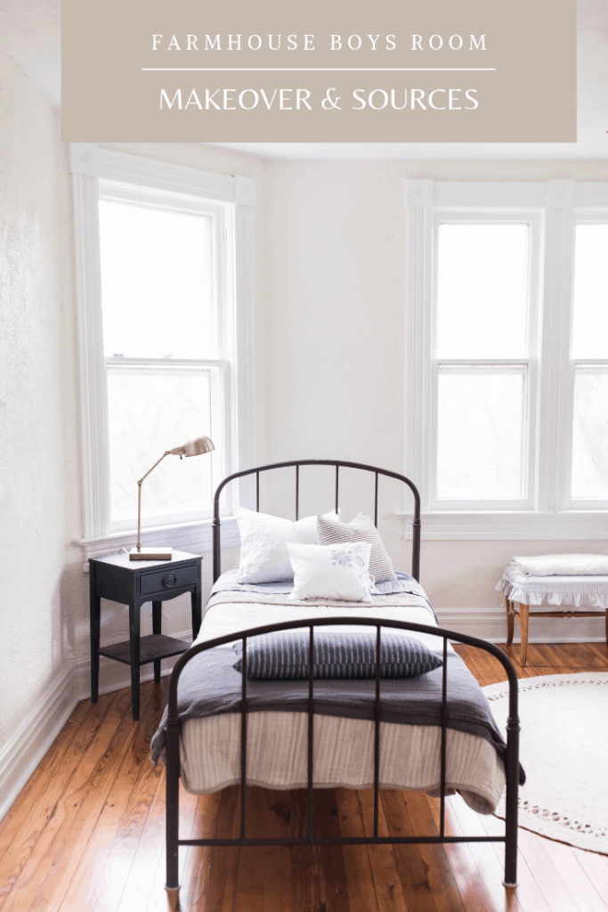 Farmhouse boys room makeover with farmhouse bedding and vintage finds