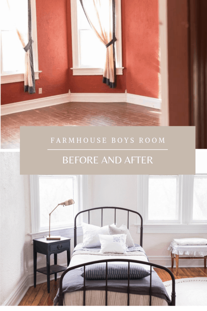 Farmhouse boys room makeover with vintage finds and DIY