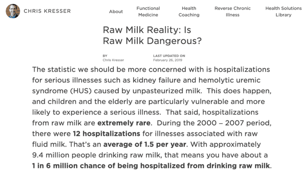 1 and 6 million chance of getting sick from raw milk stat