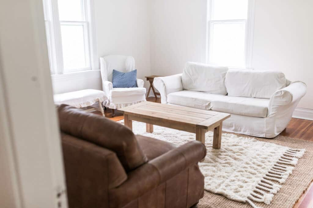 spring farmhouse living room makeover with tuesday morning before
