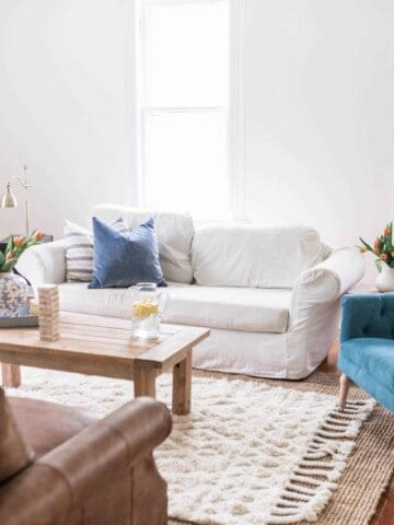 spring farmhouse living room after photo
