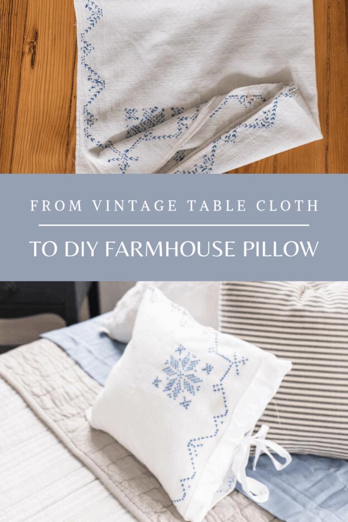 Pillows from a Vintage Table Cloth