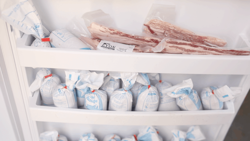 grass fed pork in the freezer