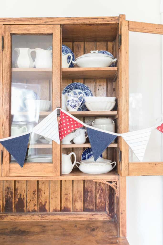 fourth of july fabric bunting on hutch
