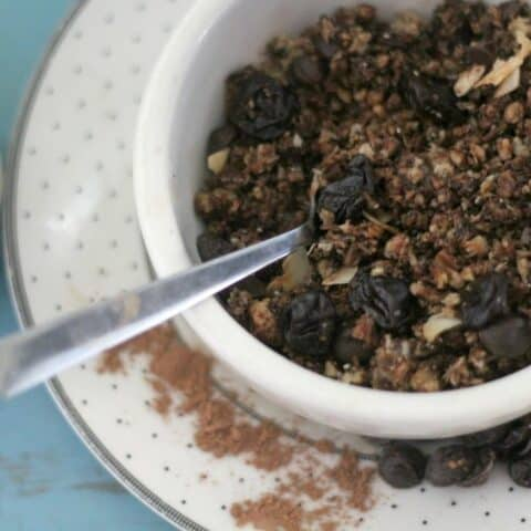 Homemade Grain Free Granola With Dark Chocolate and Cherry