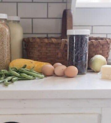 eggs, veggies and grains on quartz countertop