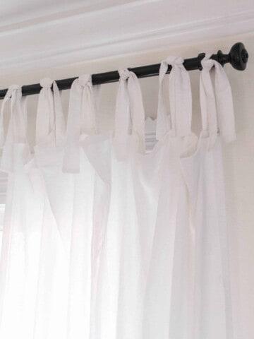 DIY Curtains - white farmhouse tie top curtains