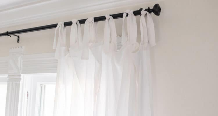 DIY Curtains - white farmhouse tie top curtains