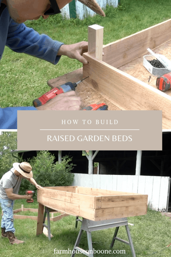 man building raised garden beds - how to build raised garden beds tutorial